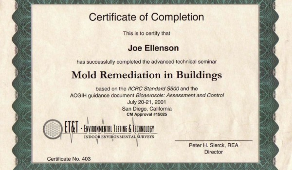 Mold Certifications Restoration Professionals